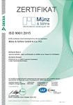 Zertifikat DIN ISO 9001:2015